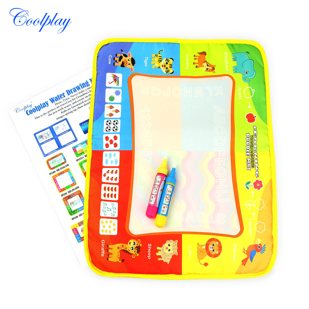 Children Magic Rainbow Water Canvas Shui Hua Tan Educational Toy Graffiti Painted Doing Homework Blanket 40*30 Cm