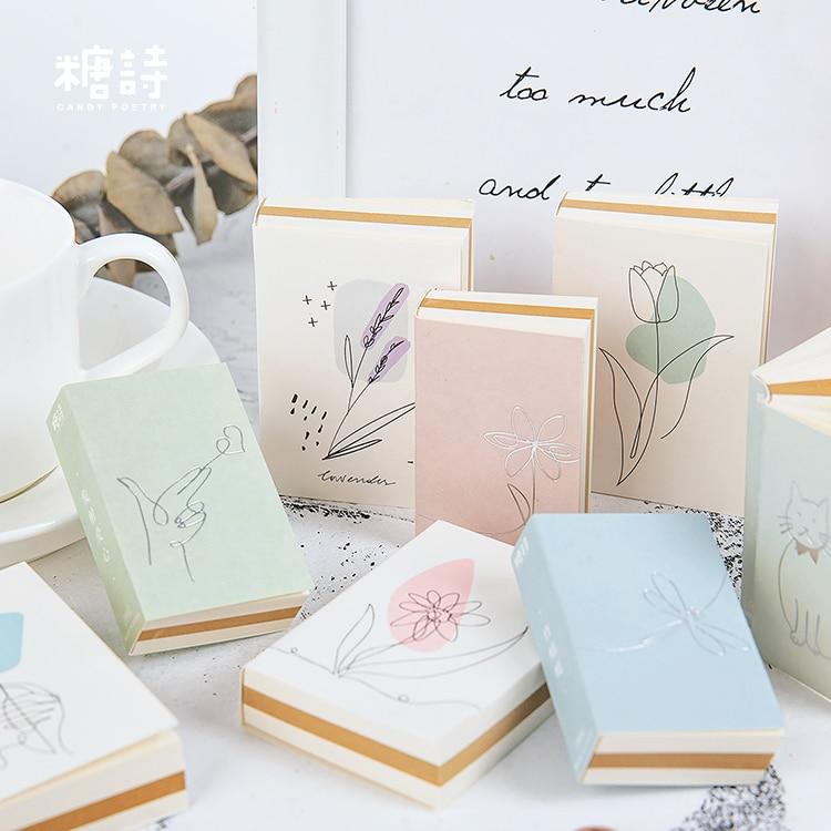 Bloco de notas adesivas bonito de kawaii, almofadas adesivas de papelaria para escritório e escola, 110 páginas