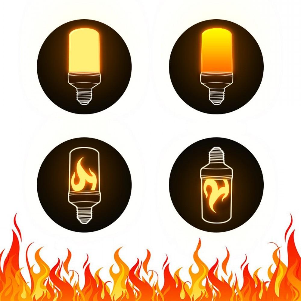E27 LED Dynamic Flame Effect Corn Bulb 4 Modes AC 85-265V Flickering Emulation Gravity Decor Lamp Creative Fire Lights