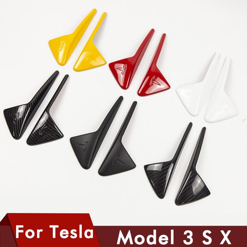 2 sztuk/zestaw dla Tesla model S X model3 boczna kamera z włókna węglowego czarny ABS pokrywa ochronna dla Tesla model 3 akcesoria 2014-2020