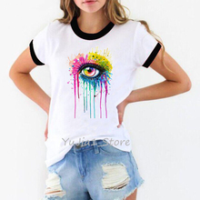 Lgbt Shirt women sexy watercolor Eye Painting Print T-shirts for women Summer top female white t-shirt aesthetic clothes eye print top