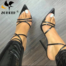 New 2019 High Quality Narrow Band Womens Sandals Pointed Peep Toe Thin Heels Sexy Summer Ladies Red Wedding Shoes Sandalias
