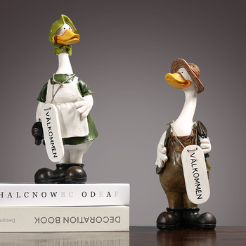 American Rural Creative Small Ornaments Couple Duck Room Decoration Wine Cabinet Model Room Decoration Craft Gifts Wedding