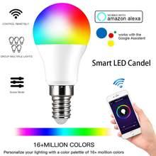 Alexa controle de voz wi fi inteligente bulbo casa rgb escurecimento de poupança de energia led cor bola casa inteligente e14 6w