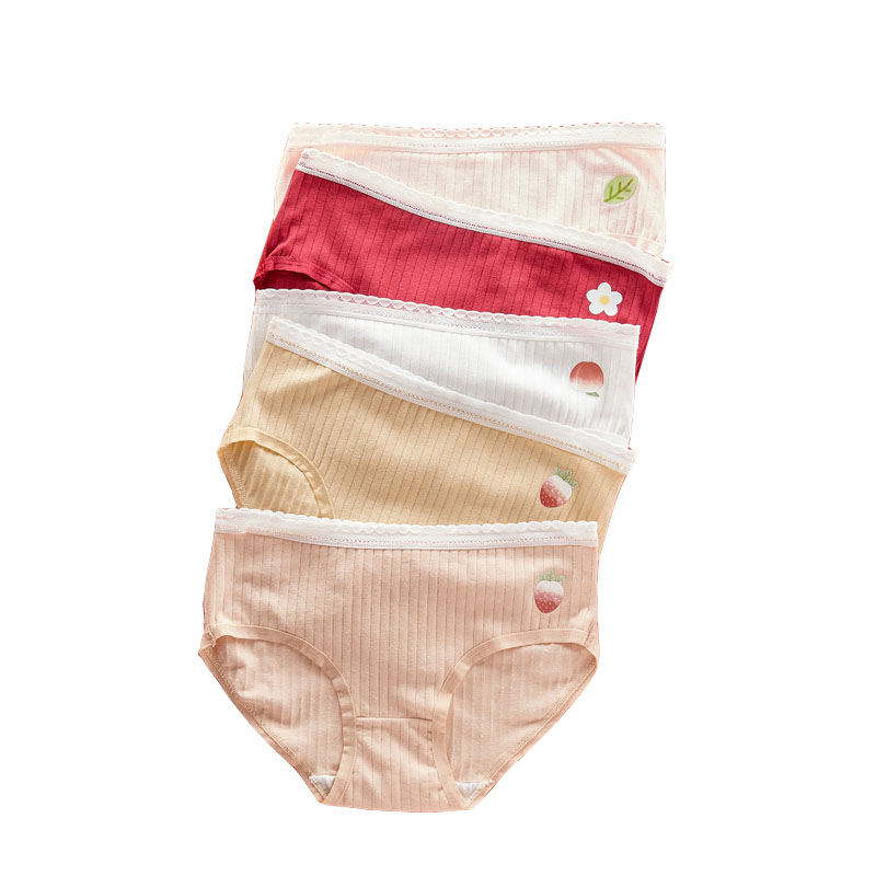 Children's Underwear Cotton Waist Crotch Antibacterial Girl's Lovely Fruit Small Fresh Printing Candy Color Underpants