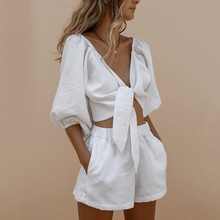 Two Piece Set Women Clothes Outfits middle Sleeve Knit Crop Top