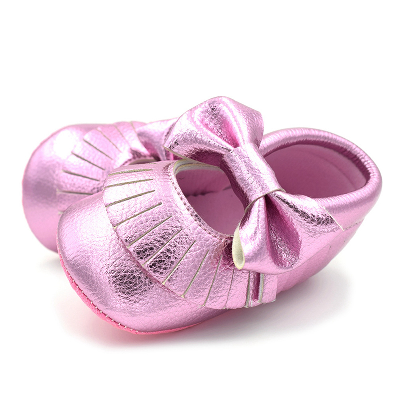 0-18 Months Newborn Baby Shoes Tassels Soft Bottom Non-Slip Baby Girls Shoes First Walkers Leisure Sports Rose Gold Shoe