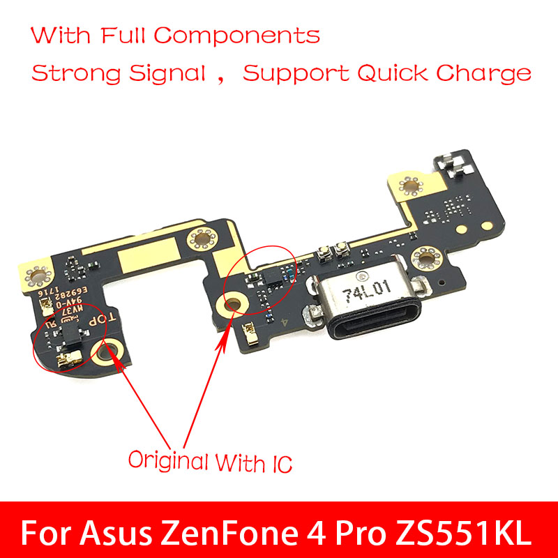 New USB Charge Port Jack Dock Connector Charging Board Flex Cable For ASUS ZenFone 4 Pro ZS551KL Replacement Parts