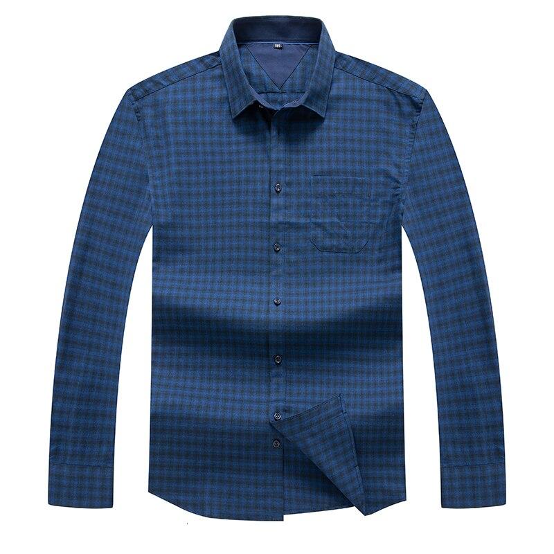 8XL 7XL Plus Size Men Long Sleeve Shirt Men Dress Pure Cotton Plaid Shirt Business Mens Shirts Casual Slim Fit Dress Shirts Men
