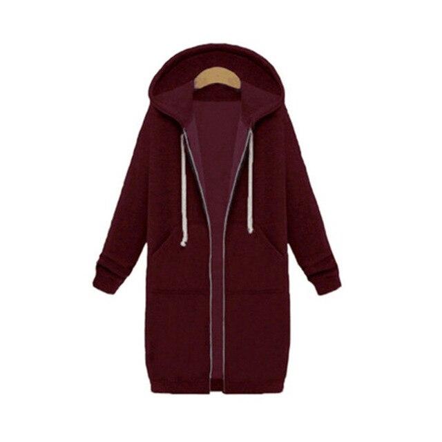 Once 2020 Autumn Casual Women Long Hoodies Sweatshirt Coat Zip Up Outerwears Hooded Jacket Winter Pockets Plus Size Outwear Tops 5