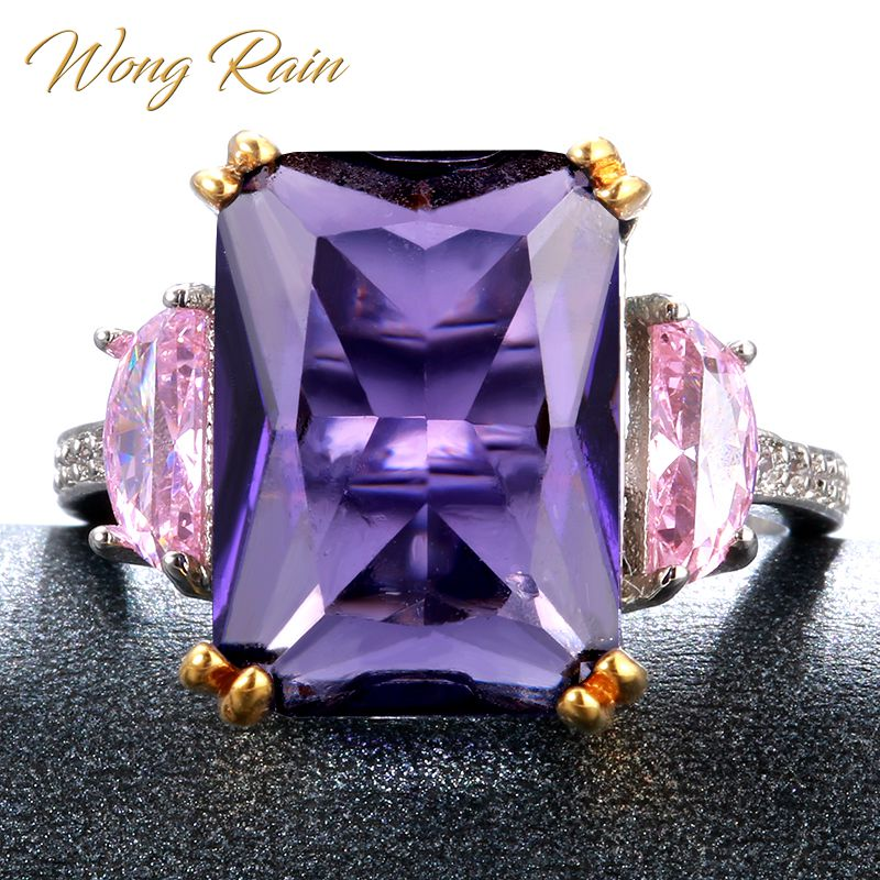 Wong Rain Vintage 925 Sterling Silver Amethyst Sapphire Gemstone Wedding Engagement Ring Fine Jewelry Wholesale Drop Shipping