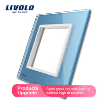 Livolo Luxury Colorful Pearl Crystal Glass, 80mm*80mm, EU standard, Single Glass Panel For Wall Switch Socket,C7-SR-17/18/19