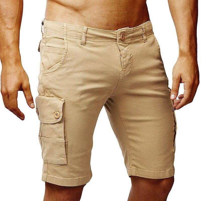 Nice Pop Brand Men Knee Length Solid Cargo Shorts Men Khaki Black Green VogueShorts Summer Work Shorts Pocket Short Pants