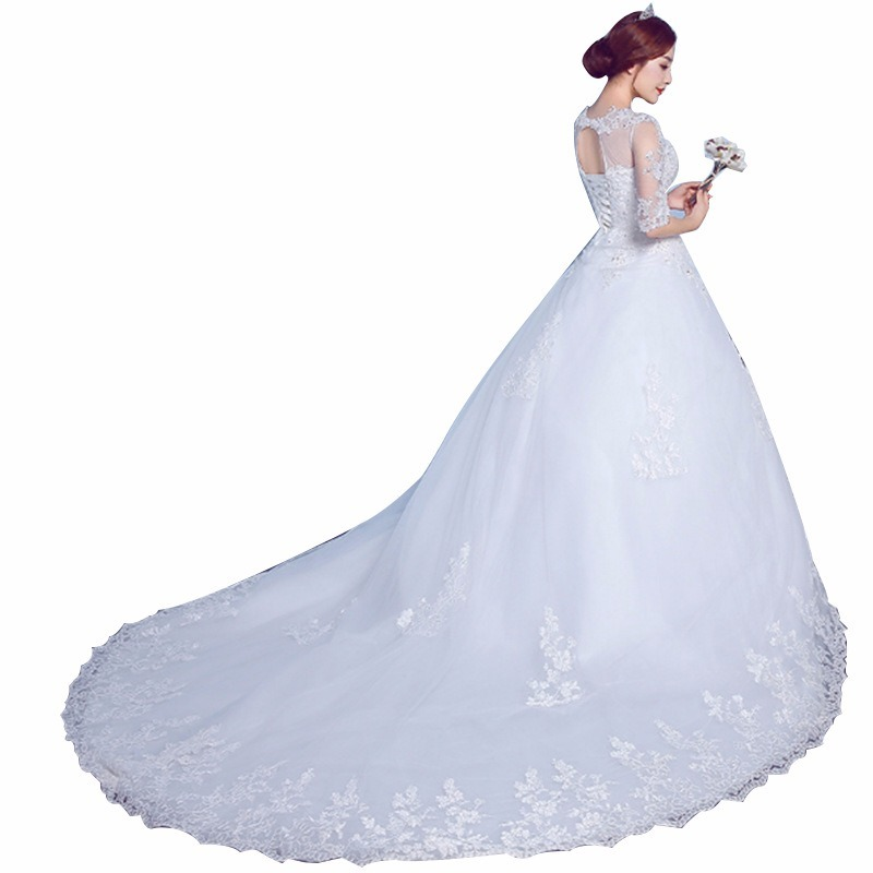 Wedding Dresses Backless Crystal Sexy Elegant Lace O-Neck Ball Gown Royal Train Vestido De Noiva  Plus Size Tulle Dress