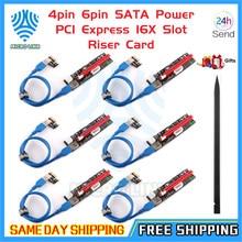 4pin 6pin sata power pci express 16x slot riser cartão usb 3.0 pci-e pci-express 1x a 16x pcie riser para mineração de mineiro bitcoin btc