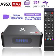 Caixa superior ajustada da caixa da tevê de a95x max x2 4gb 64gb amlogic s905x2 2.4g & 5g wifi bt 4.2 1000m 4k hd caixa esperta da tevê