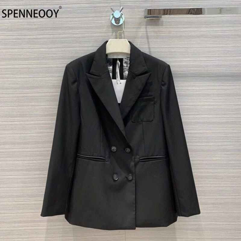SPENNEOOY Designer Brand Autumn Forest Animal Lining Print Double breasted Fashion Office Lady Black Blazer Outwear Women Coat