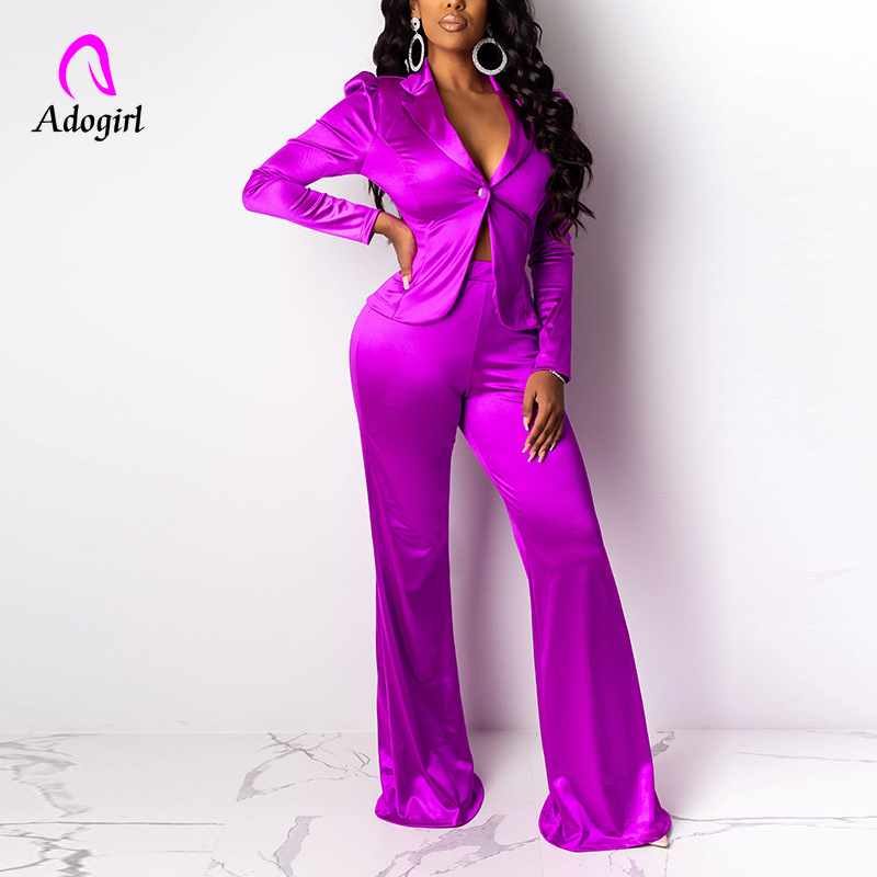 Rosy 2019 Autumn Winter Women Tracksuits Notched Short Blazer Wide Leg Pants Suits Two Pieces Set Fashion Office Lady Blazer Set