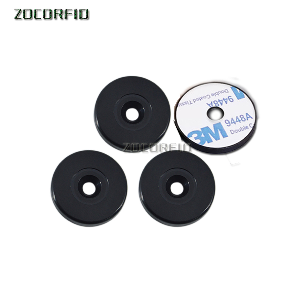 Dia 30mm 13.56MHZ Waterproof Round 30mm ABS Coin Anti-metal Black NFC ISO14443A RFID MF Classic With Sticker