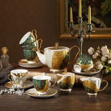 Coffee Set (6 peoples) Bone China Porcelain Tea Set Ceramic Pot Creamer Sugar Bowl Teatime Teapot Coffee Cup Mug with tray