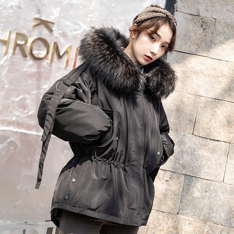 Abrigo Grueso de Invierno Down jacket Chaqueta de Plumas Medio Largo con Capucha para Hombre