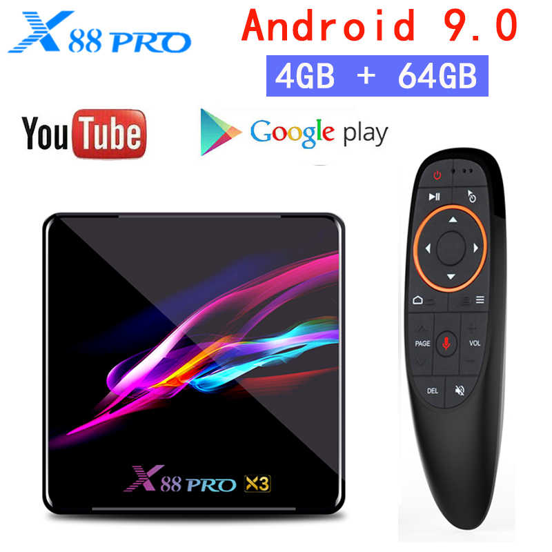 Android 9.0 Tv Box X88 Pro 4 Gb di Ram 64 Gb Rom 2.4G E 5G Wifi 1000M s905X3 Quad Core Usb 3.0 8K Bt Google Player Youtube Set Top Box