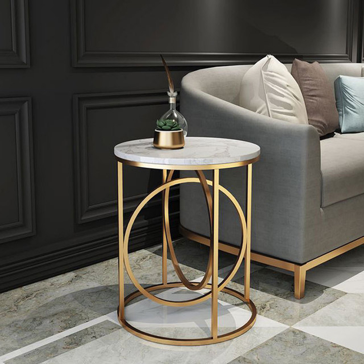 Modern Round Side Table For Living Room Bedroom Nordic Luxury Iron Frame Marble Top Coffee Table Small Sofa End Table 40cm*60cm