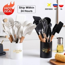 New Silicone Cooking Utensils Set Non-Stick Spatula Soup Spoon Eggbeater Food Clip Wooden Handle with Storage Box Kitchen Tool