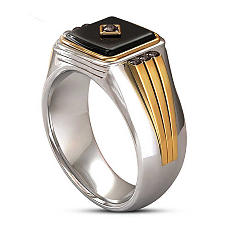 Gothic Two-tone Signet Mens Ring Black Classic Big Resin Stone Engraved Male Rings for Women Good Luck Jewellery A5M458