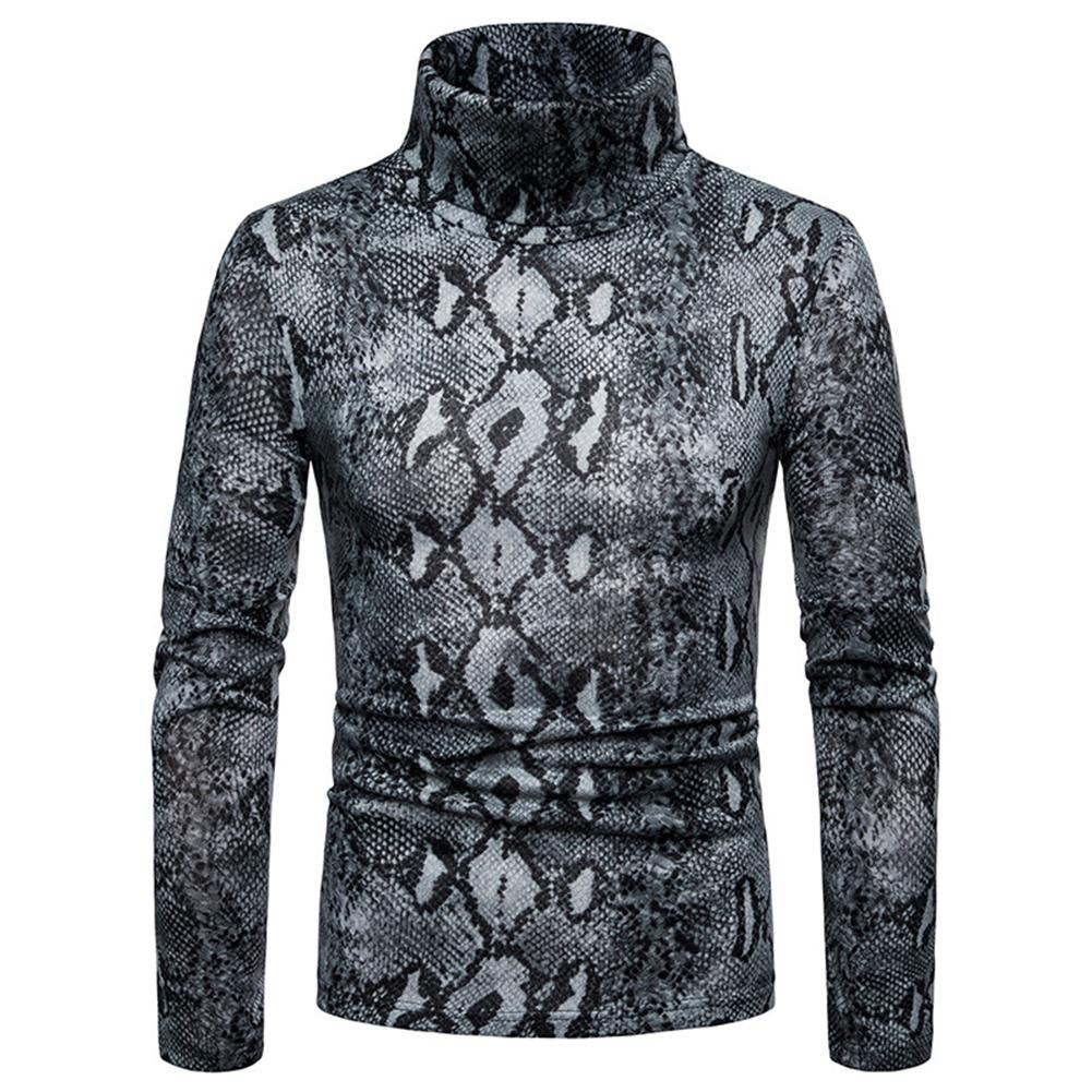 MISSKY Men Sweater Snake Skin Warmth High Coller Large Size Casual Pullover Sweater For Winter Autumn Male Tops