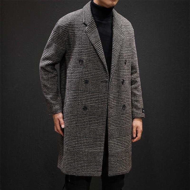 YASUGUOJI Casual Double Breasted Mens Wool Overcoat Winter 2019 Houndstooth Jacket Men Turn-down Collar Long Woollen Wind Coat 2