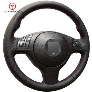 Image 5 - LQTENLEO czarna sztuczna skóra DIY osłona na kierownicę do samochodu dla BMW M Sport E46 330i 330Ci E39 540i 525i 530i M3 M5 2000 2006