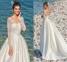 Vintage Long Sleeves Lace Satin Wedding Dresses 2020 V-neck Backless Beach Bridal Dress Boho Vestidos de Noiva