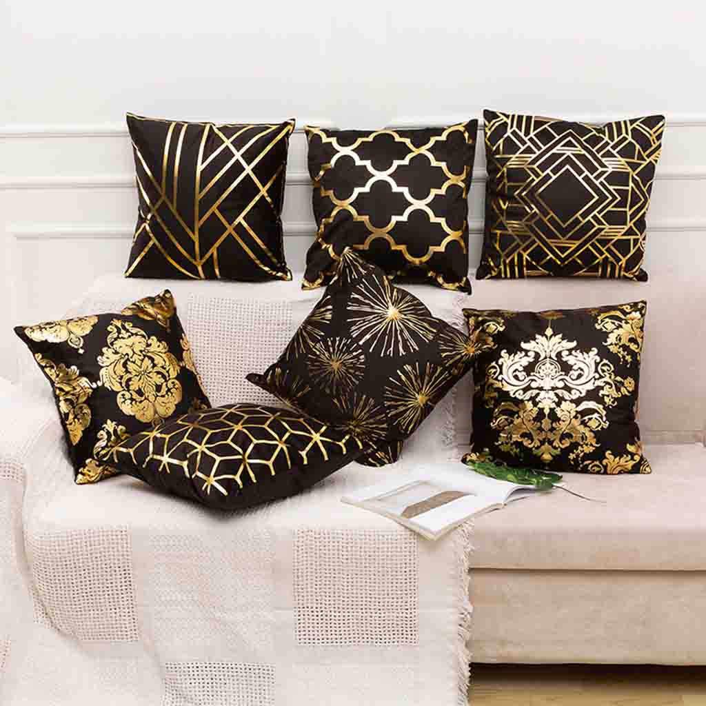 חדש פוליאסטר זהב מכתב כרית מקרה כיסוי ספה כרית המותניים מכונית כיסוי בית פשוט זהב גיאומטרי קישוט 45x45 cm