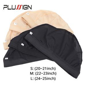 Image 3 - Plussign Stretchable Spandex Black Mesh Dome Style Wig Cap Wholesale 12 Pcs/Lot Snood Weaving Caps Hair Net For Wigs Making