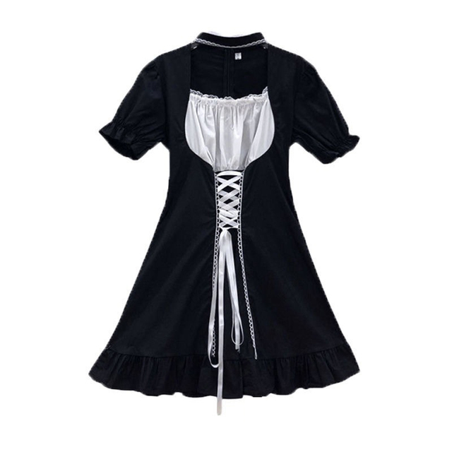 QWEEK Goth Maid Dress Kawaii Gothic Milkmaid Lolita Outfit Cosplay Costumes E Girl Puff Sleeve Bandage Dress 2021 Mall Goth Emo 6