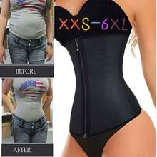 Corsé moldeador de cuerpo XXS 6XL de látex para mujer, entrenador de cintura, faja con cremallera, para pérdida de peso, ropa moldeadora, cinturón de reloj de arena