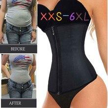 XXS 6XL Corset Body Shaper Latex Taille Trainer Cincher Zipper Underbust Gewichtsverlies Afslanken Shapewear Zandloper Riem Vrouwen Plus