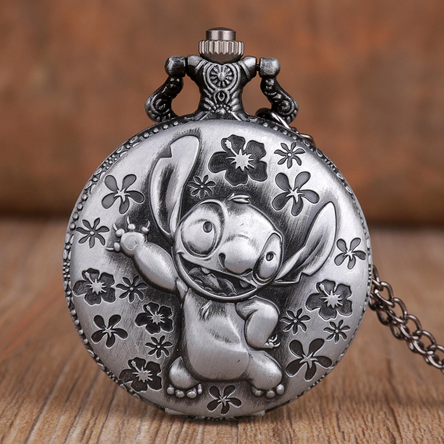 Vintage Retro Cute Lilo & Stitch Theme Pocket Watch With Pendant Necklace Chain Quartz Fob Watch Gifts For Boys Girls