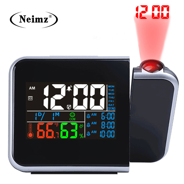 ไอเดียของขวัญที่มีสีสัน LED DIGITAL PROJECTION นาฬิกาปลุกอุณหภูมิเครื่องวัดอุณหภูมิความชื้นความชื้นโต๊ะโปรเจคเตอร์เวลาปฏิทิน