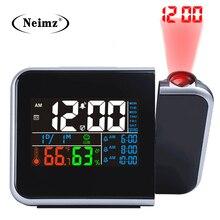ギフトアイデアカラフルな led デジタルプロジェクションアラーム時計温度温度計湿度湿度計卓上時間プロジェクターカレンダー