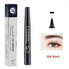 1pc Waterproof Natural Eyebrow Pen Four-claw Eye Brow Tint Makeup 5 Colors Eyebrow Pencil Brown Black Grey Brush Cosmetics #h(China)