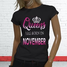 Queens Lahir Di November Scorpio Sagitarius Wanita Kaos Hitam(China)