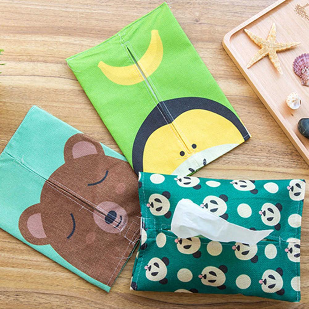 귀여운 팬더 토끼 티슈 상자 종이 타월 냅킨 홀더 케이스 홈 데스크탑 주최자 장식 도구 친환경 티슈 박스 가방