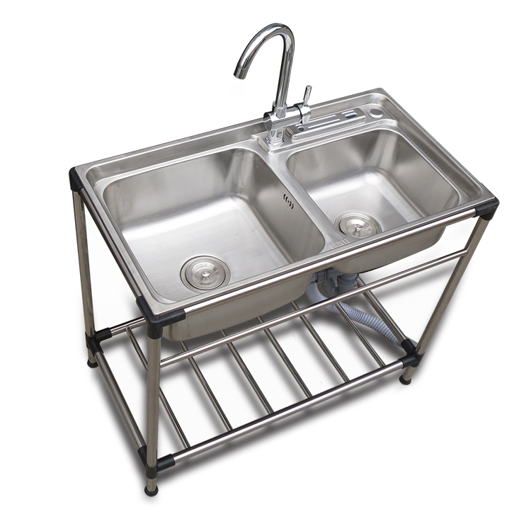 Stainless Steel Sink Double Slot With Support Landing Dishwasher Sink Washing Tank Moving Sink Support Panning Basin