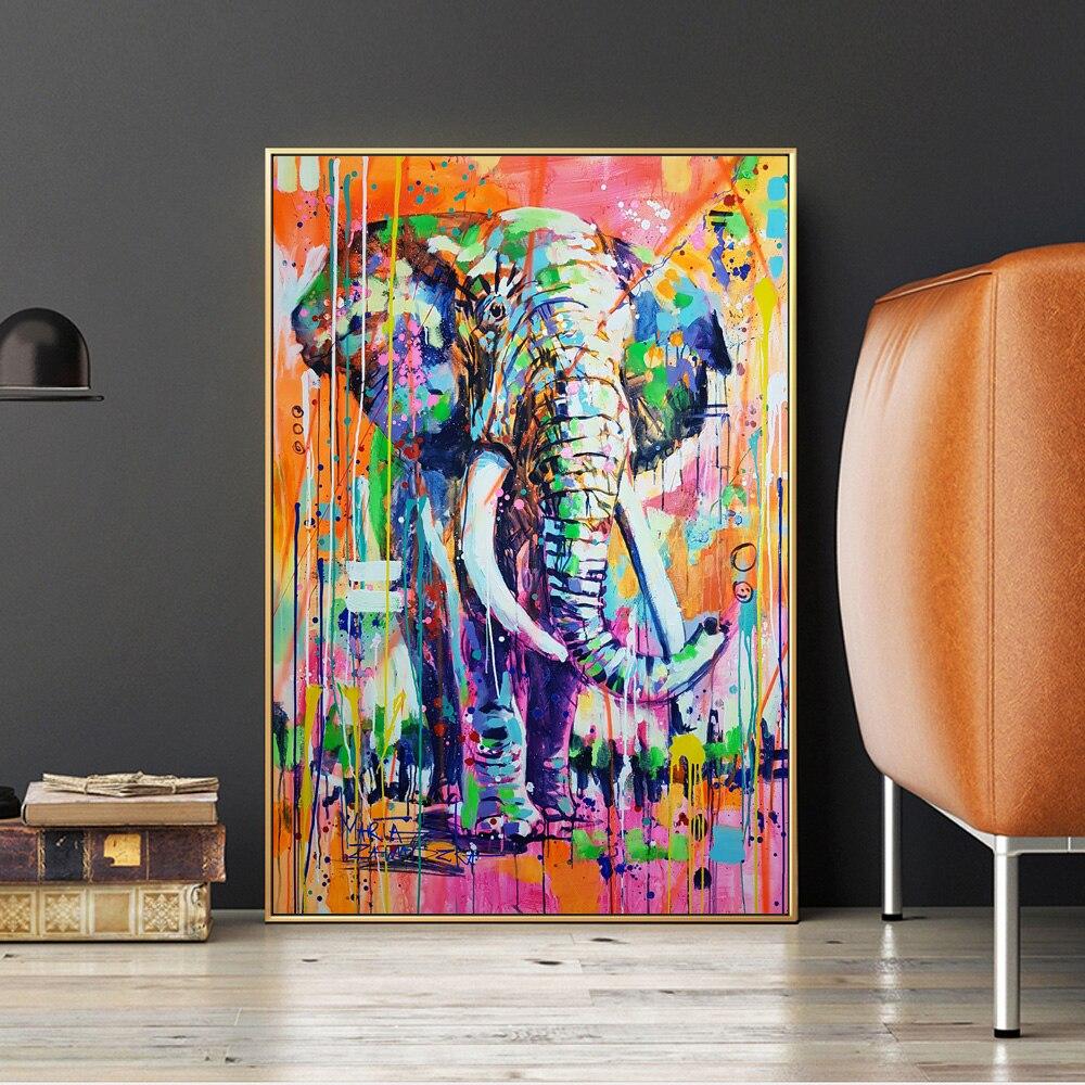 Скандинавский декор акварельные граффити слоны картина маслом