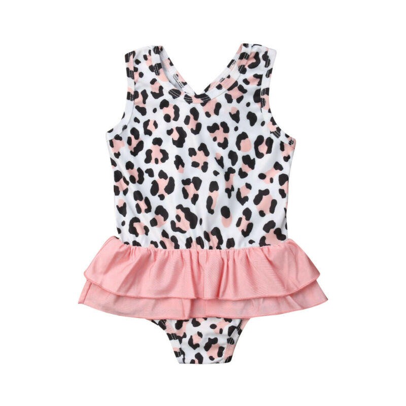 Kids Girls One Piece Leopard Print Swimwear Swimsuit Bikini Monokini Set