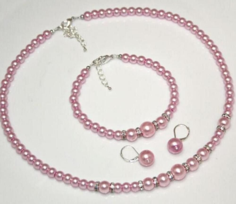Rosa Diamante Cristal Collar Aretes Pulsera Joyería Conjunto de fiesta de graduación de novia