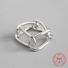 100% Authentic 925 Sterling Silver Open Ring For Women Geometry Ins Simple Chain Buckle Sliver Rings Fashion Jewelry Girl