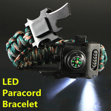 Survival Paracord Bracelet Hand-Rope Hiking Outdoor Camping Rscue LED 4mm Emergency-550